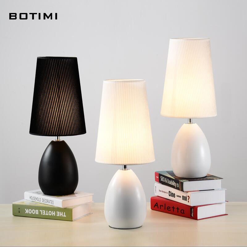BOTIMI white black table lamp with lampshade abajur de mesa lamparas  desk lamp for bedroom reading bedside lighting fixture <br><br>Aliexpress