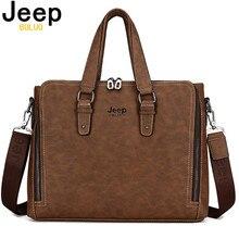 JEEP BULUO Laptop Briefcase Bag Fashion Men Nubuck Leather Bag Famous Brand Shoulder Messenger Bags Causal Handbag Male 8022