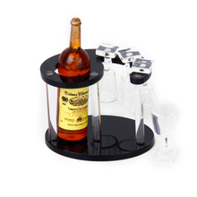 New Unisex Champagne Bottle Wine Rack with Four Glasses 1:12 Doll's House Miniature Kitchen Accessory Birthday Gift Kids Toys(China)