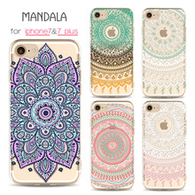 for iPhone case painted mandala Phone Cases for Apple iphone 7 7plus case TPU for iPhone 6 case 6 6s 6plus slim soft phone shell