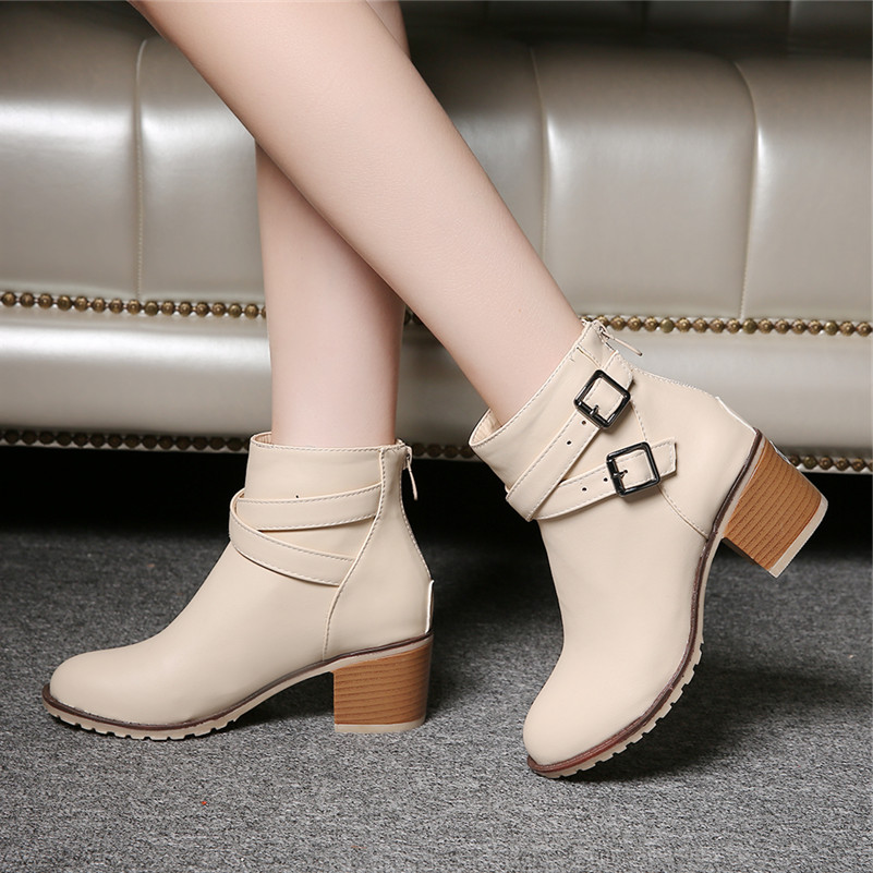 size 34-43 New Autumn and winter women Leather shoes vintage Europe star fashion Square high heels Ankle boots zipper Snow boots<br>
