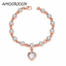 AMOURJOUX Romantic Heart Rose Gold color Women Charm Bracelets & Bangles With Clear White Rhinestones Female Bracelet Jewelry