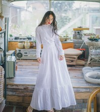Women Long Skirt Embroidery Design Initial Less Heavy Skirts White 8049(China)