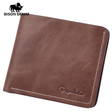 BISON DENIM Thin wallet men short wallets business casual first layer leather wallet business wallet high quality purse card