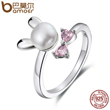 BAMOER Genuine 925 Sterling Silver Rabbit Bunny Women Finger Ring, Fresh Water Pearl & Pink Crystal Sterling Jewelry Gift SCR078(China)