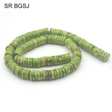 "Free Shipping 3x10mm Keshi Sea Sediment Jaspers Green Gems Natural Stone Jewelry Spacer DIY Beads Strand 15""(China)"