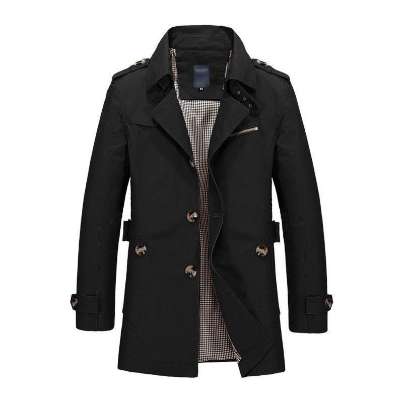 Korean Overcoat Khaki Black PLus size XXXL XXXXL 5XL british style Slim fit trench coat long men New Spring 2017 man Windbreaker (4)