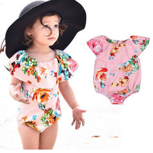 2017 Hot Selling Baby Girls Swimwear Flower Printed O-Piece Swimsuits Lotus Leaf Cute Gilr Beachwear Bather Global Free Shipping