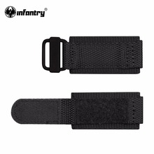 Infantry 24mm Durable Nylon Watchbands Electroplated Black Bracelet with Hook and Loop Fastener Wristwatch Strap Accessories(China)