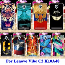 Soft Silicon Hard PC Cell Phone Cases Cover For Lenovo Vibe C2 K10A40 Shell Hood Cat Tiger Captain American Batman Painted Shell