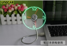 100pcs  Durable Adjustable USB Gadget Mini Flexible Time LED Clock USB Fan with LED Light Cool Gadget Time Display Wholesale