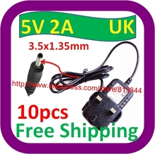 "10 pcs Free Shipping UK 5V 2A Adapter Power Supply Charger Plug for 7"" MID Tablet PC 3.5x1.35mm"