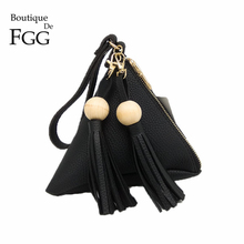 Triangle Pyramid Black PU Women Day Clutches Bag Tassel Evening Wristlets Bags Casual Party Dinner Handbags Purses For Iphone 7