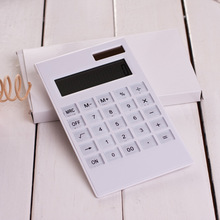 Creative Crystal Keyboard Slim Mini Calculator Solar Energy Dual Power Office Electronic
