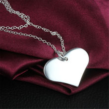 New Design Smooth Heart Pendant Necklace Plated Chain Charm 925 Silver Sterling Fashion Jewelry For Women Party Wedding Gift