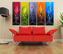 100% Hand Painted 5 Pcs Abstract Narcissus Flower Music Oil Painting On Canvas Home Wall Art Decotation Picture For Living Room