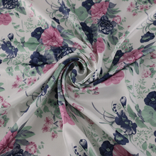 Poly Satin Fabric Print Vintage Floral Material Clothing Tela(China)