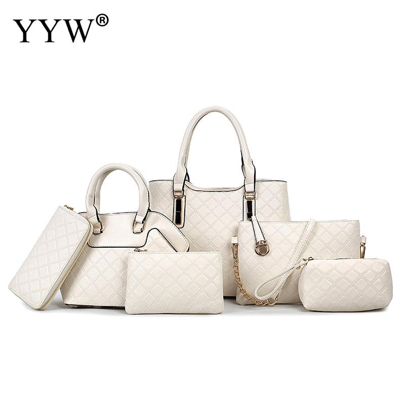 Buy 1 Got 6 Pieces Set Top-Handle Large Capacity Composite Bags Luxury Handbags Women Designer<br>