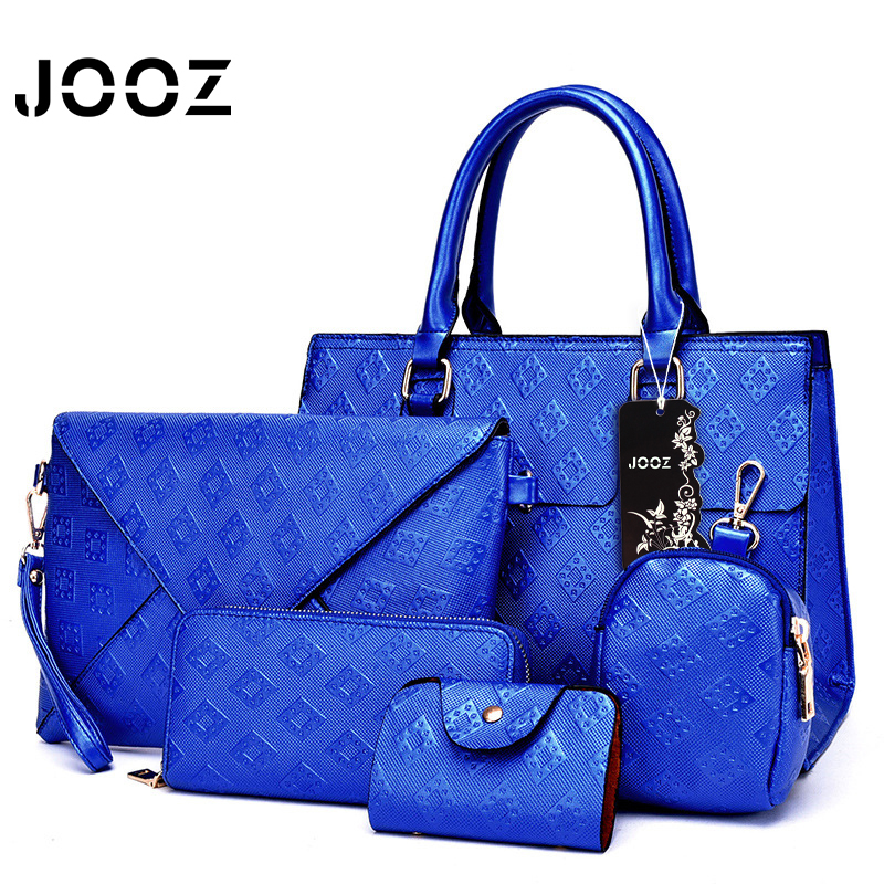 Jooz New Luxury PU Leather Ladies Hand Bags 5 Pcs Composite Bags Set Ladies Shoulder Crossbody Bag Purse Wallet Women Clutch Bag<br>