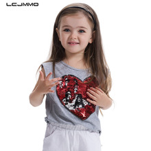 LCJMMO High Quality New Girls T-Shirt 2017 Summer Childen Cotton Sequins T-shirt For Girl Tops O-neck Kids Clothes For 3-7 Years(China)