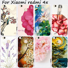 Cases For Xiaomi Redmi 4X 5.0 inch Cover Bags Hard Plastic Soft TPU Cell Phone Skin Painting Flowers Shell Hood Housing