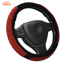 LEDAUT Ledaut Auto Steering Wheel Cover Thermal Plush Red Velvet Black Hyper-Flex Durable Winter 38cm/15inch