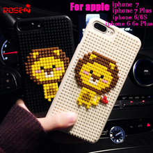 Japan Style DIY Lego Cute cartoon lion Case For Apple iphone 7 Plus 6 6s Plus Anti-knock Back Cover Capa Fundas(China)
