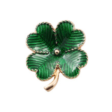 fashion imitation jewelry accessories metal green enamel epoxy clover brooch