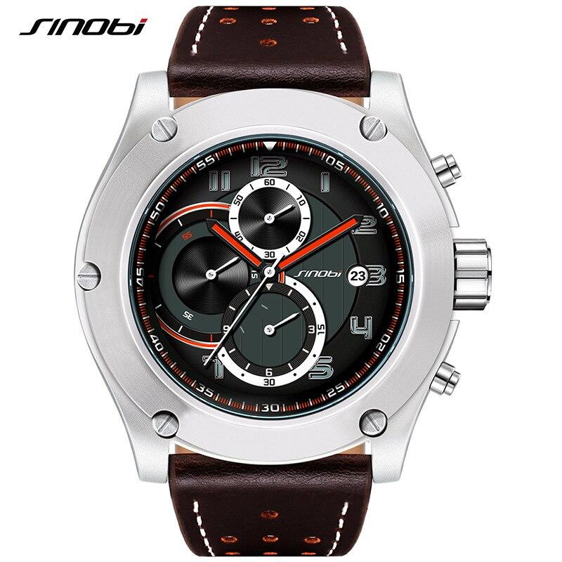 Top Brand SINOBI Watches Men Chronograph Men Sport Watches Mens Quartz Clock Military Waterproof Wrist Watch Relogio Masculino<br>