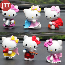 New 6pcs Hello Kitty Action Figure Toys Cosplay Violin Bowknot Love Car Decoration Doll Cake Topper Dollhouse Girl Birthday Gift