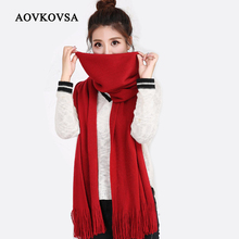AOVKOVSA 2017 new imitation cashmere scarf women knitting scarf keep warm tassel solid Scarves for girl