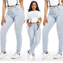 Hot Style Women Denim Skinny Ripped Pants High Waist Stretch Jeans Long Pencil Trousers Washed Blue Color M L XL XXL(China)