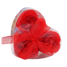 7 colors 3pcs Rose with soap case Quality Flower Petal Bath Body Soap Wedding Party Gift Best supply drop shipping