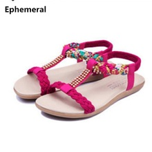 Lady Gladiator Crystal Floral Weaving Elastic band Open toe School Girls Flats sandals Casual Beach shoes Flip flops Plus size 9