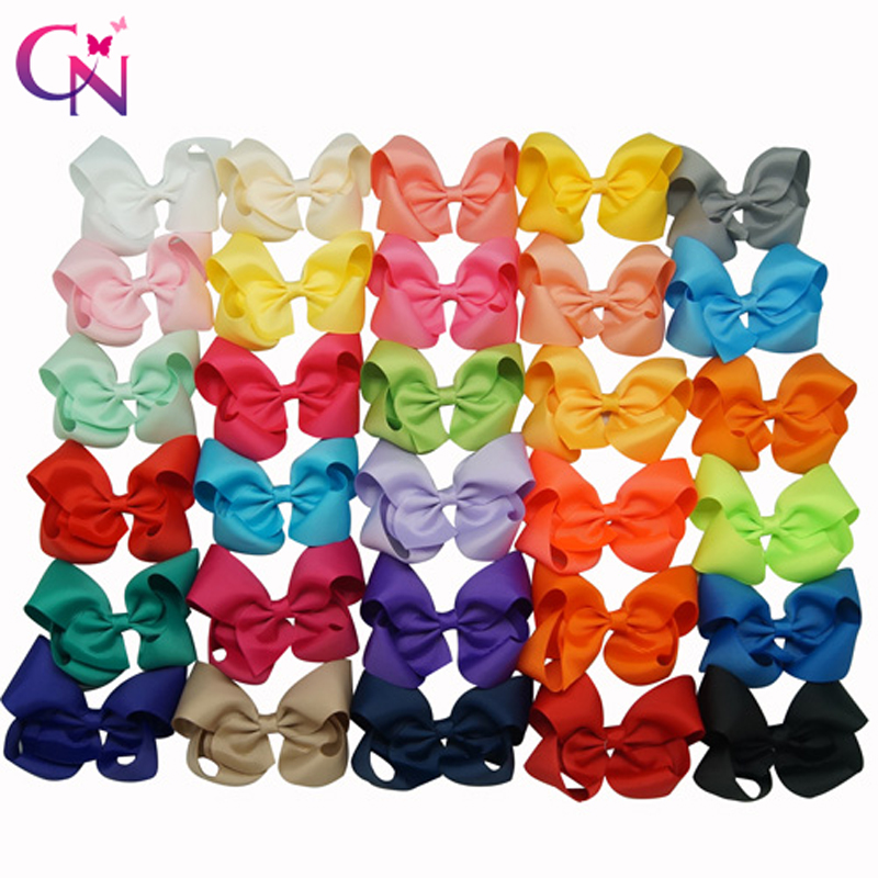 30 Pcs lot 3 5 Handmade Kids Solid Hair Bows With Clips Girls Solid Grosgrain Ribbon