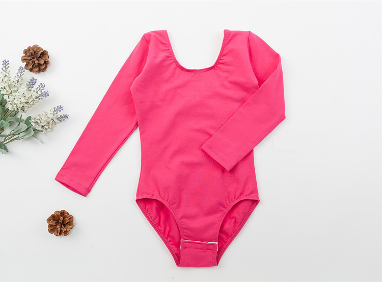 Long sleeved Spandex cotton girls gymnastics leotard (4)