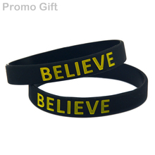 Promo Gift 50PCS/Lot Justin Bieber BELIEVE Wristband, Colour Filled In Silicone Bracelet(China)