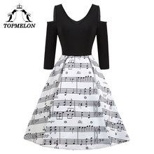 Musical Notes Black Long Sleeve Women Print Dress 2017 New Retro Vintage 50s 60s vestidos Elegant Music Concert Party Dresses(China)