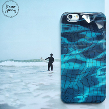 From Jenny Summer Soft Gel Blue Ocean Wave Case Cover For iPhone 6 6s 6plus 6splus 7 7plus Surf beach Cases Free Shipping(China)