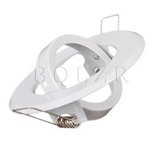 BQLZR 2 x MR16 Downlight Fitting Gimble Satin Chrome with Lamp Holder 88mm Dia White