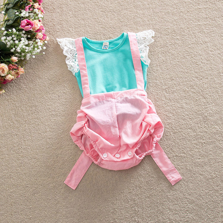 2017 Girls summer cute lace T-shirt sith suspenders sets , children clothing , 4pcs/lot  WMX38<br><br>Aliexpress