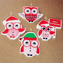 50 units / Mixed hair Chirstmas hat owl wooden sewing buttons children christmas clothing buttons DIY ornament making