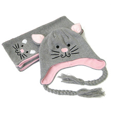 Baby Hat Scarf Set Cartoon Cat Kitty Embroidered Knitted Beanie for Girls Pink Gray HTZZ60(China)
