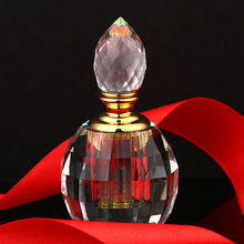 3ML Clear 3'' Vintage Round Aurora Borealis K9 Crystal Refillable Woman Perfume Bottle Empty Container w/gold Trim Glass Dauber(China)