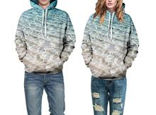 Women 3d sweatshirt Beach scenery Print hooded hoodies Casual long sleeve Men Hoody Pullovers tracksuits hoody tops with pockets(China)