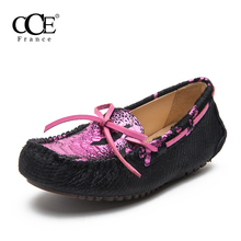 CCE 2017 New arrival Summer Autumn fashion horsehair totally hand-made Genuine Leather Women Moccasins shoes casual shoes,1188(China)