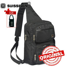 Swisswin Fashion Sling Bag Women and Men Small Casual One Shoulder Bag Waterproof Men Chest Bag Black Blue SWK1009