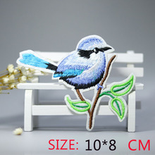 2016 New arrival 1PC colorful blue bird Iron On Embroidered Patch For Cloth Cartoon Badge Garment Appliques DIY Accessory
