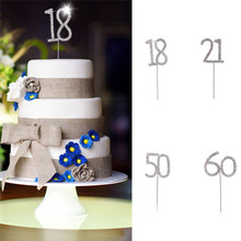 New Crystal Rhinestone Cake Topper Decoration Silver Numer 18/21/50/60 For Wedding Anniversary Birthday Party Favor Kids Toy