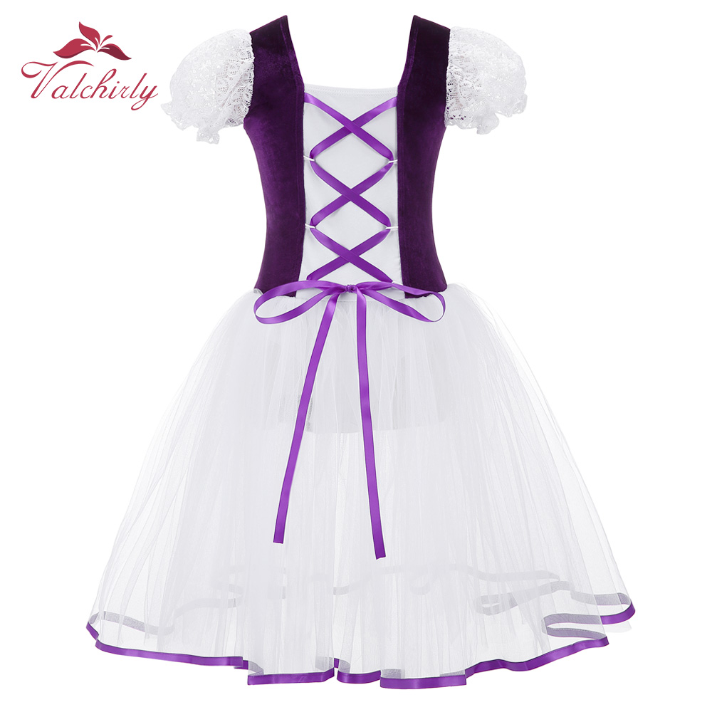 New Professional Girls  Ballet Tutu Dress Velvet Body Mesh Skirt Short Puff Sleeves Kids Dance Gymnastics Leotard Costumes